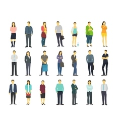 Set many ordinary modern people Adult human male vector image