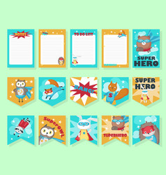 Set of cards with cute superhero animals vector