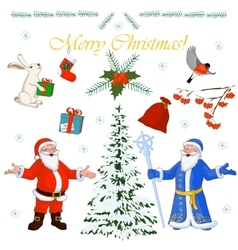 Set of Christmas characters Santa Claus and his vector image