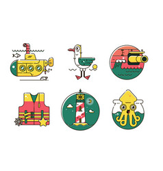 set of nautical marine line color iconmarine vector image