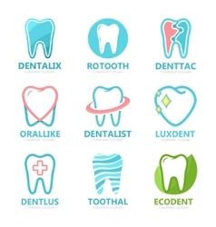 set tooth logo design template dental logo vector image