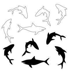 shark black silhouettes and digital stamps vector image
