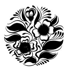 Silhouette circle branch of tea with flowers and l vector