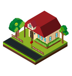 single house by the road in 3d design vector image