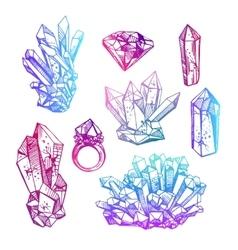 sketch of crystals vector image