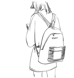 sketch of schoolgirl with backpack from back vector image