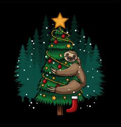 Sloth hugging tree merry christmas vector