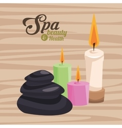 Spa beauty and health three candles and stone vector