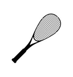 squash racquet sport silhouette black icon vector image