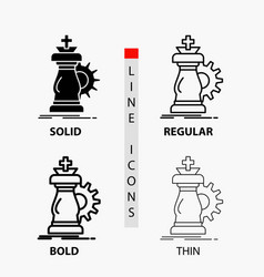 strategy chess horse knight success icon in thin vector image