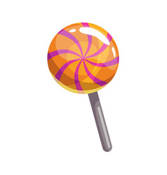striped candy on stick isolated realistic icon vector image
