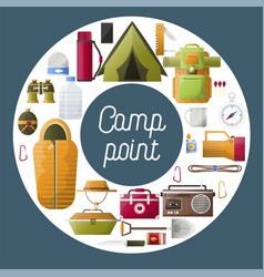 Summer camp poster of forest and hiking camping vector