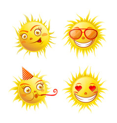 Sun with different emotions vector