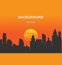 sunset urban city skyline silhouette background vector image