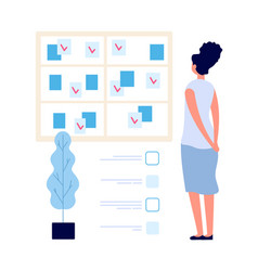 task board manager woman looking at planning vector image