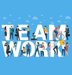 Team work flat design template vector