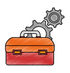 Tool box with gears vector