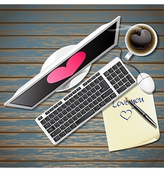 Top view of computer and note paper with hot coffe vector