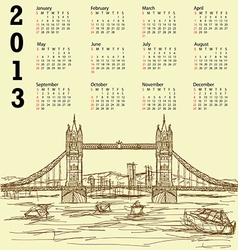 tower bridge vintage calendar 2013 vector image