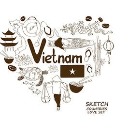 Vietnamese symbols in heart shape concept vector image