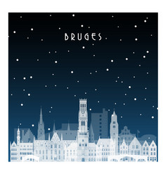 winter night in bruges night city in flat style vector image