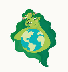 woman holding ecology world earth day vector image