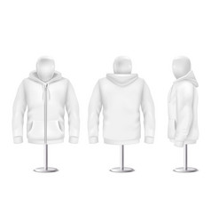 3d realistic white hoodie on mannequin vector image