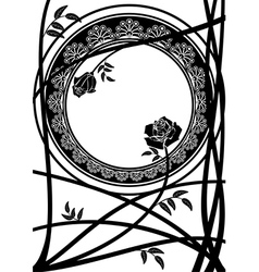 frame with branches of roses vector image vector image