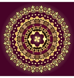 Gold and purple vintage round pattern vector image vector image