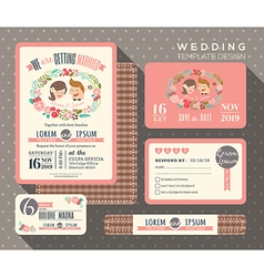 groom and bride cartoon retro wedding invitation vector image vector image