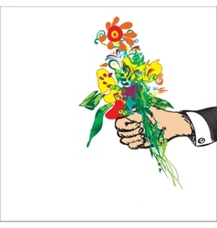 Hand With Bouquet vector image vector image