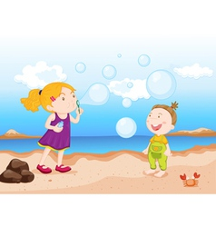 kids at beach vector image