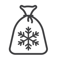 santa bag line icon new year and christmas vector image