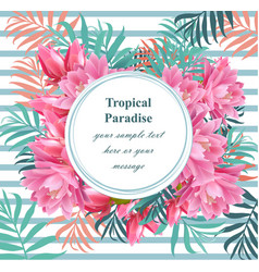 tropical floral round card summerl vector image