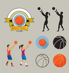 Basketball Player and Graphic Elements vector image vector image