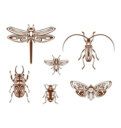 Insects in tribal ornamental style vector image