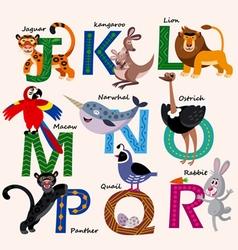 Kids Zoo alphabet with animals vector image vector image