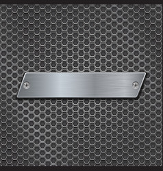 metal plate on iron perforated background vector image vector image