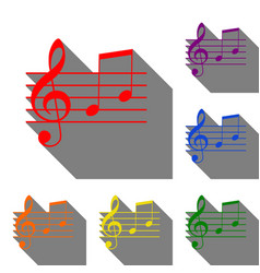 music violin clef sign g-clef and notes g h set vector image