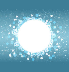 snowflakes and stars round frame for christmas vector image vector image