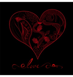 decorative heart with inscription love vector image