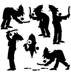 Detective Silhouettes vector image vector image