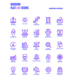 flat line gradient icons design-marketing and vector image vector image