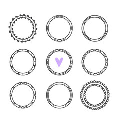 romantic collection with hand drawn round frames vector image