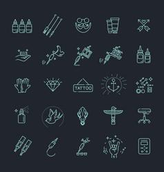 tattoo salon master icon set vector image vector image