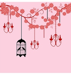 Bird cage floral background vector image