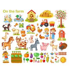 Farm set with animals vector