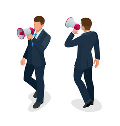 isometric man with loudspeaker flat vector image