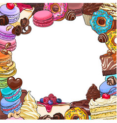 square frame of desserts and pastries round place vector image vector image