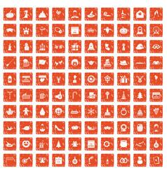 100 holidays icons set grunge orange vector image